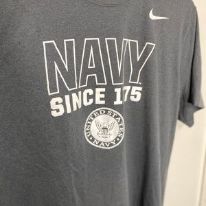Nike Shirts - Nike Dri-Fit Athletic Cut Navy graphic gray tee